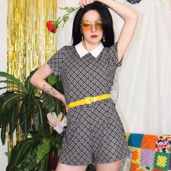 Dresses & Skirts - Mod floral romper 60s inspired black and white